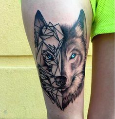 Wolf geometric dotted tattoo