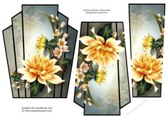 - This lovely art deco style, shaped topper has two stacker layers to add depth. It features a beautifully painted yellow dah. 3d Pattern, 3d Cards, Hobbies And Crafts, Art Deco Fashion, Paper Crafting, Dahlia, Decoupage, Card Making, Backgrounds