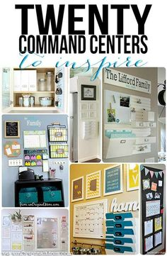 """A great list of 20 different organized """"command centers"""" - all kinds of different spaces and clutter solutions.  And they're pretty, too! 