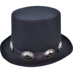 Black Top Hat Leather Look Adult Costume Accessory