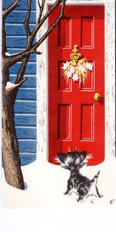 #Christmas #vintage #greeting #cat #snow #winter #1950's