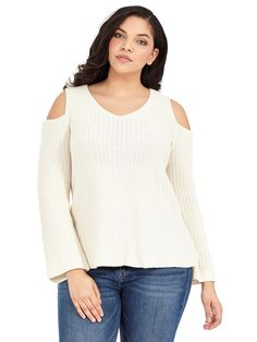 Cold Shoulder Pullover Sweater by Style & Co Available in sizes 0X-3X