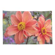 Orange Dahlias Floral Pillowcase