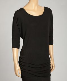 Look at this #zulilyfind! Zenana Black Ruched Tunic by Zenana #zulilyfinds
