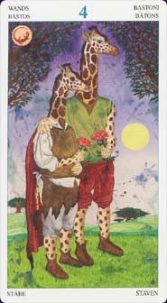 Four of Wands:Animal Lords Tarot  Designer(s), Artist(s): Angelo Giannini Country of Publication: Italy