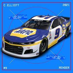 2021 #9 Hendrick Motorsports paint schemes - Jayski's NASCAR Silly Season Site Chase Elliott Car, Nascar Racers, Kyle Larson, Classic Race Cars, Paint Schemes, Sport, Motor, Chevy, Racing