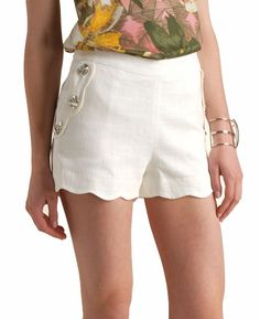 LOVE these nautical shorts with a feminine twist: Champagne & Strawberry Linen shorts with scallop edge