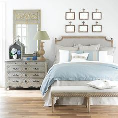 Serene scene - note the Louis XIV trumeau mirror and the Swedish-style bench Trumeau Mirror, Entryway Mirror, Home Decor Bedroom, Bedroom Ideas, Glam Bedroom, Pretty Bedroom, Bedroom Colors, Bedroom Inspiration, Queen Headboard