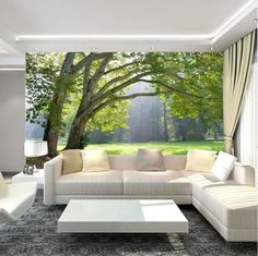 Wallpaper Mural Green Three Forest Scenery Photo Wall Paper Background TV for sale online 3d Wallpaper Mural, Front Wall Design, Wallpaper Living Room, Landscape Wallpaper, Drawing Room Decor, Forest Scenery, 3d Living Room, Living Room Designs, Latest Living Room Designs