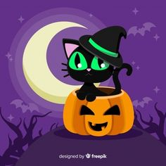 Lovely halloween cat with flat design Halloween Artwork, Halloween Quotes, Halloween Snacks, Halloween Pictures, Halloween Wallpaper, Toddler Halloween, Halloween Costumes, Halloween Friday The 13th, Halloween 2020