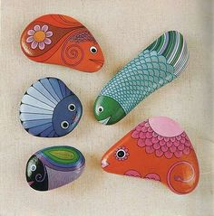 rocks are painted by Doris Epple, and the pictures are from a 1973 book from Germany.