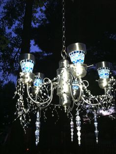 solar light chandelier omg i want to hang this in my garden solar lights pinterest. Black Bedroom Furniture Sets. Home Design Ideas