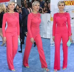 Scarlett Johansson Looks Old in Pink Jumpsuit and Sophia Webster Sandals