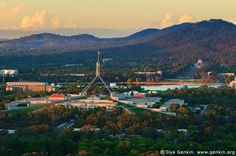 Parliament House at Sunset, View from Red Hill Lookout, Canberra, ACT, Australia. We lived right at the base of Red Hill on Buxton Street until we left Australia in 1957 Australian Photography, Holiday Travel, Holiday Trip, North India, Houses Of Parliament, Places Ive Been, Paris Skyline, Travel Inspiration, Beautiful Places
