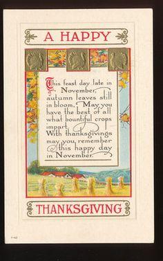 ☆ Nice ~Thanksgiving Autumn Leaves Poem ~ Antique Postcard-eee766