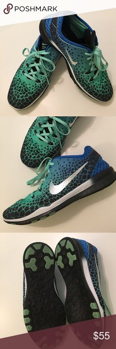 Women's Nike Free TR Fit 5 Size 9 These were an impulse buy and worn twice! I have nothing to go with them. Excellent condition!!! Blue, seafoam green and black. Nike Shoes Athletic Shoes