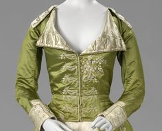 Bodice detail of a Redingote or Great-Coat Dress, c.1786 - c.1789, satin, silk, Netherlands, BK-1978-250 | Rijksmuseum