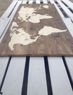 Wood Stain World Map On One Piece by CraftyHandsFullHeart on Etsy, $120.00. gift for him. get your anniversary wood burned on it