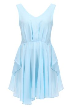 Cut-out Back Pleated Lake-Blue Dress(Arrival on August 14th)  $31.99  #romwe  romwe.com