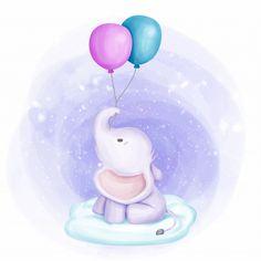 Cute Cartoon Elephant And Balloons Illustration Cartoon Elephant, Baby Cartoon, Cute Cartoon, Baby Elephant Drawing, Elephant Illustration, Illustration Blume, Little Elephant, Cute Elephant, Indian Elephant