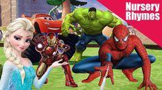 Nursery Rhymes Compilation for Kids - Spiderman Elsa Hulk Iron Man Race Each Other Iron Man Race, Disney Cartoons, Nursery Rhymes, Hulk, Spiderman, Racing, Marvel, Superhero, Kids