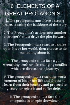 Not every protagonist is created equal. These are 6 elements that every great protagonist throughout literature and film has woven deep within their character. story books 6 Elements of a Great Protagonist Book Writing Tips, Creative Writing Prompts, Writing Words, Fiction Writing, Writing Resources, Writing Help, Writing Skills, Writing Ideas, Creative Writing Inspiration