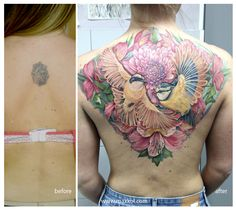 #maxkol #tattoo #bird #flower #color #ink #colortattoo #cover_up
