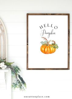 A free pumpkin printable set to download and make your own DIY wall art! Featuring festive pumpkins and seasonal phrases for fall. Pumpkin Printable, Free Printable Gift Tags, Free Printable Calendar, Printable Wall Art, Halloween Porch Decorations, Halloween Banner, Autumn Decorations, Free Christmas Printables, Free Printables