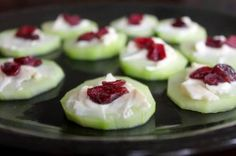 "Cranberry Topped Cheese and Cucumber ""Crackers"" or I might just add Cranberries to my Cucumber Sandwiches (my favorite)."