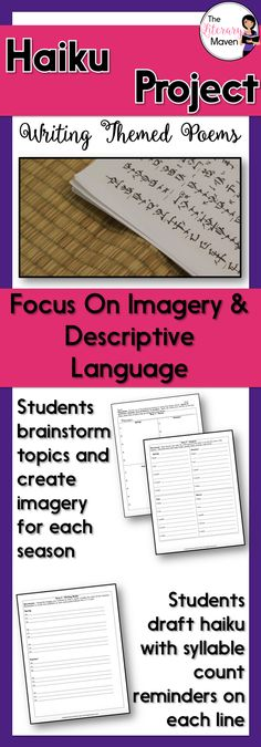 In this writing activity, students will choose an overall theme for their four haiku, one for each of the four seasons, use imagery and descriptive language. Middle School Ela, Middle School English, High School, Teaching Poetry, Teaching Language Arts, English Lesson Plans, English Lessons, Poetry Month, English Classroom