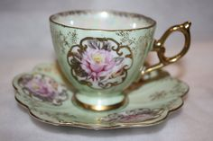 Lefton+china+tea+cup+hand+painted+soft+green+by+FranklinStVintage