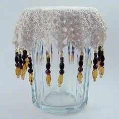 Beaded Sunburst Glass Cover - A free Crochet pattern from Julie A Bolduc. Crochet Motifs, Crochet Dishcloths, Thread Crochet, Crochet Doilies, Crochet Stitches, Crochet Patterns, Crochet Ideas, Crochet Bowl, Love Crochet