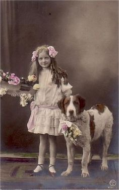 Vintage tinted postcard of a girl and her dog.  Flickr - Photo Sharing! by shawn