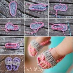 Fab DIY Crochet Baby Flip Flop Sandals | www.FabArtDIY.com