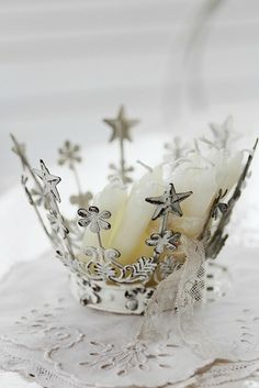 White crown with stars and medallions - #star #crown