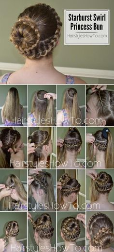 Starburst Swirl Princess Bun Tutorial - Perfect for homecoming or prom! No way I have enough hair for this, but it's still super pretty! 5 Minute Hairstyles, Pretty Hairstyles, Braided Hairstyles, Updo Hairstyle, Wedding Hairstyles, Simple Hairstyles, Waterfall Braid With Curls, Sleek Ponytail, Hair Dos