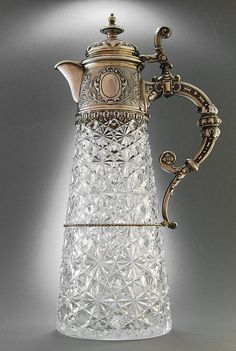 German silver and glass claret jug, Koch & Bergfeld - Heilbronn c 1890 Antique Glass, Antique Silver, Bronze, Baccarat Crystal, Silver Spoons, Cut Glass, Glass Jars, Swarovski, Antiques