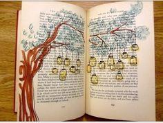 Tree with hanging lanterns. Art journal.