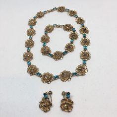Vintage Retro Gold Tone Flower Necklace Bracelet Earrings Set Blue Stones  #Unbranded