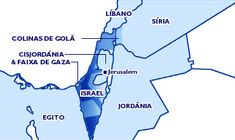 Israel, Colinas de Golã, Cisjordânia e Faixa de Gaza (+ Líbano, Síria, Jordânia e Egito).