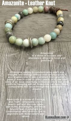 MANTRA: I allow and accept success in my life. - 8mm Multi Colored Amazonite Natural Gemstones - Brown Leather Knot - Tibetan Silver Rondelles - Commercial Strength, Latex-Free Elastic Band - Artisan