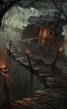 Halloween Art: Halloween house by bzartt. Fantasy Places, Fantasy World, Dark Fantasy, Casa Halloween, Halloween Artwork, Happy Halloween, Halloween Prop, Halloween Witches, Spooky Halloween Pictures