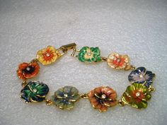 "Joan Rivers Gold Tone 8"" Enameled & Rhinestone Pansy Bracelet – Maria's Vintage"