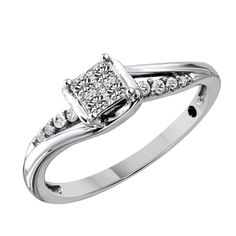 1/5 CT. T.W. Princess-Cut Quad Diamond Twist Promise Ring in 10K White Gold #Affinityhomeshopping