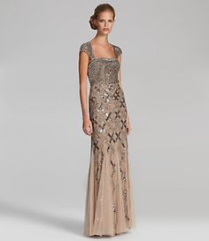 Adrianna Papell Cap-Sleeve Bead Dress | Dillard's Mobile