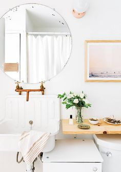 Small Apartment Storage Ideas White Bathroom With Round Mirror