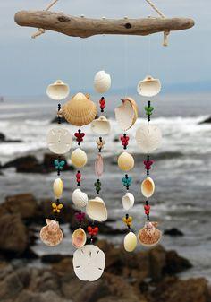 Driftwood Seashell Wind Chimes Sea Shell by seashorewindchimes