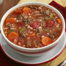 Beef and Barley Soup - delicious! I used hamburger /sausage and added edamene.