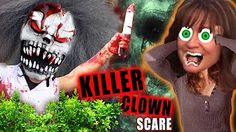 4 SCARY KILLER CLOWNS IN THE WOODS ON HALLOWEEN! Mean Dad Pranks Kids (FUNnel Vision Scare Cam Cry) - YouTube