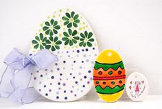 Handpainted Easter egg craft shapes.  We have an assortment of crafts shapes and craft decorating products for workshops, events or shops.  http://countrylovecrafts.com/search.php?search=easter=1
